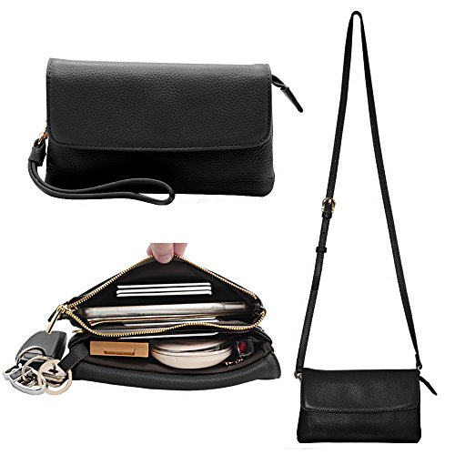 Befen Womens Leather Wristlet Clutch Crossbody Cell Phone Wallet, Mini Cross Body Bag with Shoulder Strap/Wrist Strap/Card Slots for iPhone 6S Plus/Samsung Note 5 – Black by Befen