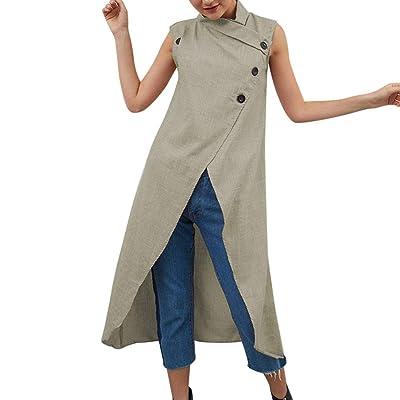 ????????????Vestidos Verano Mujer Sexy Women Cotton and Linen Button Sleeveless Large Size Split Summer Dress-Blusa Flamenca NiñA-Vestidos De Fiesta Mujer Largos Tallas Grandes: Ropa y accesorios