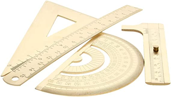 Lheng 0-15cm Brass Ruler 0-180 /° Brass Protractor Geometry Set Math Kit for School Student Teacher Metric System and British System 0-10cm Isosceles Triangle Ruler