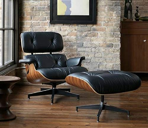 Mid Century Modern Lounge Chair with Ottoman,Mid Century Recliner Chair - High Grade Leather - Black Palisander Wood Lounge Chair Replica (Black Palisander) (Used Chair Barcelona)