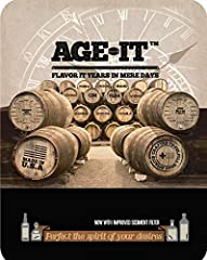 Age-It is a mastering pouch that matures your spirit's flavor-wheel profile in mere days, capable of aging a Scotch to rival 18 year single malt, smoothing bourbons & whiskeys, refining rums, brandy & cognac, and imparting anejo wisdo...