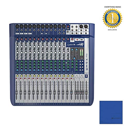 Soundcraft Signature 16 16-Input Mixer with Effects with Microfiber and 1 Year Everything Music Extended Warranty