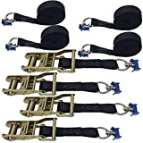 4 Pack of 1in X 8ft Black Ratchet Strap With L-Fittings