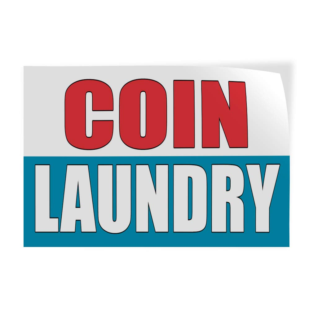 Decal Sticker Multiple Sizes Coin Laundry White Blue Business Coin Laundry Outdoor Store Sign White One Sticker 69inx46in