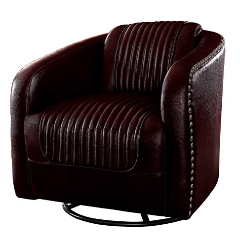 Homelegance Moderne Modern Swivel Club Chair with Nailhead Trim, Brown Art Deco Living Room Chair