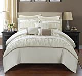 Chic Home 10 Piece Blanche Pleated & Ruffled King Bed In a Bag Comforter Set Beige With sheet set
