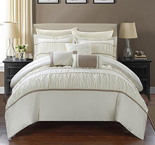 Chic Home 10 Piece Cheryl Comforter Set, Queen, Beige (Set Beige Comforter)