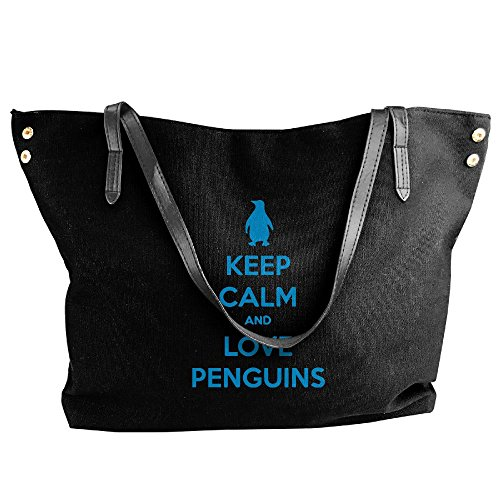 Calm Capacity And Canvas Black Penguins Large Tote Large Shoulder Keep Love Bags Handbag Women's YS0pZ0