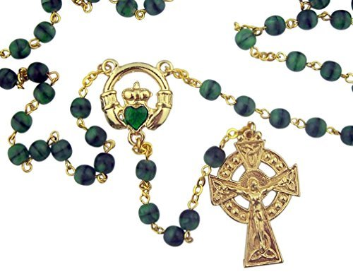 Green Glass Prayer Beads Celtic Rosary with Irish Claddagh Centerpiece, 18 (Green Emerald Bead Necklace)