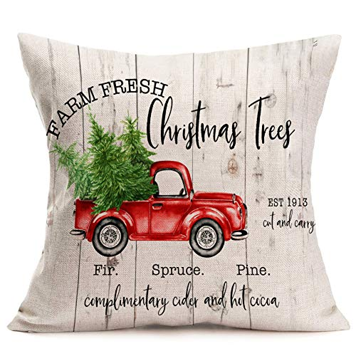 Royalours Merry Christmas Decorative Pillow Covers Xmas Red Car Tree Truck with Wood Grain Christmas Words Pillow Case Cushion Cover Home Sofa 18x18 Inches (Xmas11) ()