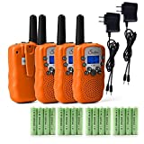 Swiftion T-388 Kids Walkie Talkies 22 Channel 0.5W FRS/GMRS 2 Way Radios with Charger and Rechargeable Batteries (Bright Orange, Pack of 4)