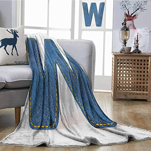 Homrkey Digital Printing Blanket Letter W Symmetrical Latin Letter Capital W with Blue Jean Pattern Typography Design Print Blue Yellow Anti-Static Throw W54 xL72 Blue Jean Teddy Blankets