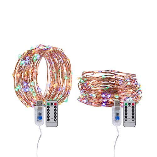 Yang wa Fairy String Lights USB Waterproof 2 Pack 33ft 100 LED Copper Wire Lights Dimmable Twinkle with Remote Control Flash Lights for Halloween,Thanksgiving, Christmas,Patio, Garden (Multicolor) -