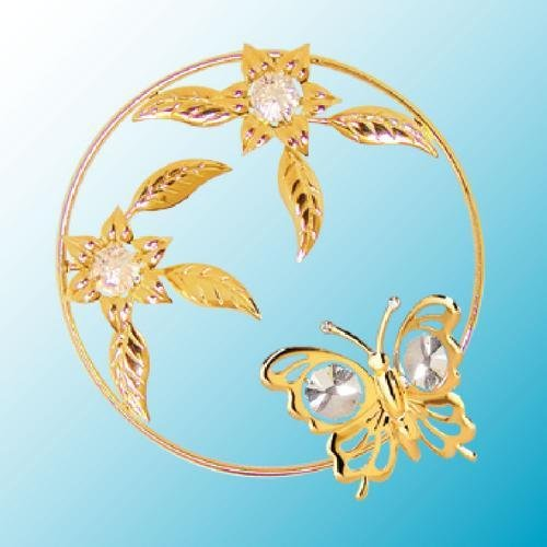 24k Gold Plated Butterfly in a Flower Ring - Sun Catcher or Magnet - Clear Swarovski Crystal