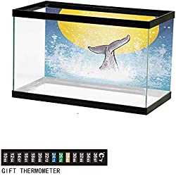 "wwwhsl Aquarium Background,Whale,Whales Tail in Ocean on Full Moon Diving in Water Swimmer Marine Animal Print,Yellow Grey Blue Fish Tank Backdrop 24"" L X 24"" H"
