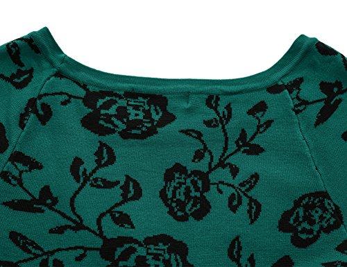 MUXXN Mujer clásico 1940's Casual suéter de punto Rose Ropa Sweater Green