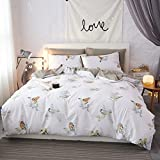 Mumgo 100% Cotton Duvet Cover Set for Adult Girls Woman Happy Birds Bedding Sets-Not Include Comforter (King Size-4 Piece, Fitted Sheet)