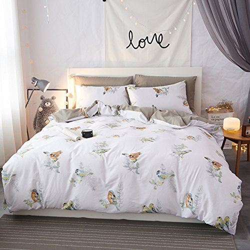 Mumgo 100% Cotton Duvet Cover Set for Adult Girls Woman Happy Birds Bedding Sets-Not Include Comforter (King Size-4 Piece, Fitted Sheet) by Mumgo