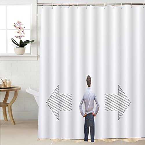 Gzhihine Shower curtain decision making choice or doubt concept businessman thinking and choosing direction business Bathroom Accessories 40 x 72 - Directions Gardens Victoria To