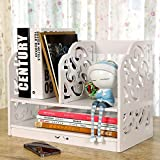 Riipoo Book Shelf, PVC Desk Bookshelf, 2-tier Bookcase, Folder File Shelf, Simple Assembly Rack Storage Organizer Holder for Folder, Books, Magazine and Others (White)
