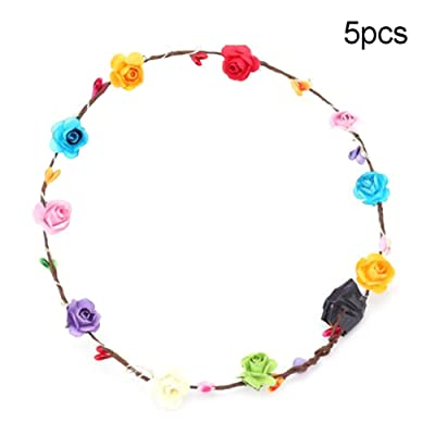 Anniston Kids Toys, LED Glowing Women Girls Flower Head Wreath Tiara Headwear Concert Party Supplies Classic Toys Perfect Fun Time Play Activity Gift for Boys Girls, Random Color 5pcs: Toys & Games