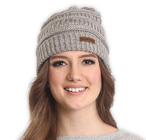 Brook + Bay Cable Knit Multicolored Beanie - Stay Warm & Stylish - Thick, Soft & Chunky Beanie Hats for Women & Men - Serious Beanies for Serious (Gray Winter Knit Hat)