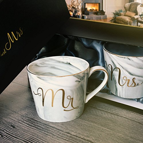 Wedding Gift - Mr and Mrs Mug Set - Classy and Elegant Gift Box with 2 Marble/Gold Tea or Coffee Cups - Beautiful Couples Anniversary, Engagement or Wedding Present for Bride and Groom - His and Her's by GIFTALIA (Image #4)