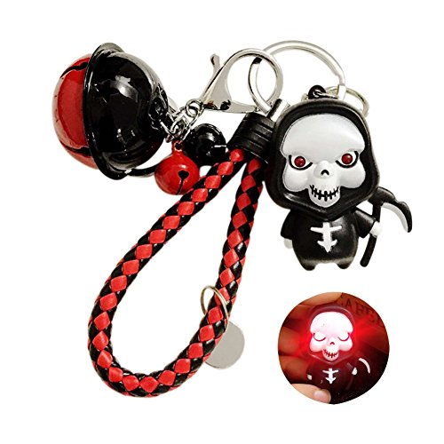 TSJ Detachable Lobster Clasp Keychains With LED Scary Sound Grim Reaper and Jingle Bells Perfect for Halloween Gifts, Decorations and Ornaments