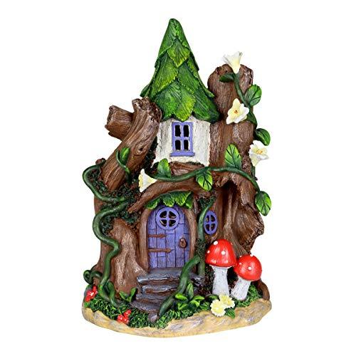 Exhart Fairy House with Red Mushroom - Solar Garden Statue for a Miniature Fairy Garden - Weather Resistant, Durable Resin Statue & Solar Garden Lights 7.48