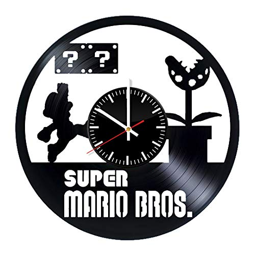 Super Mario Vinyl Clock - Super Mario Bros Video Game Vinyl Records Wall Art Room Decor Handmade Decoration Party Supplies Theme - Best Original Present Gift Idea - Vintage and Modern Style