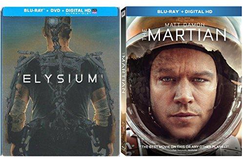 The Martian & Elysium Steelbook (Blu-ray + DVD) Exclusive Edition Matt Damon Sci-Fi Movie Bundle Double Feature set