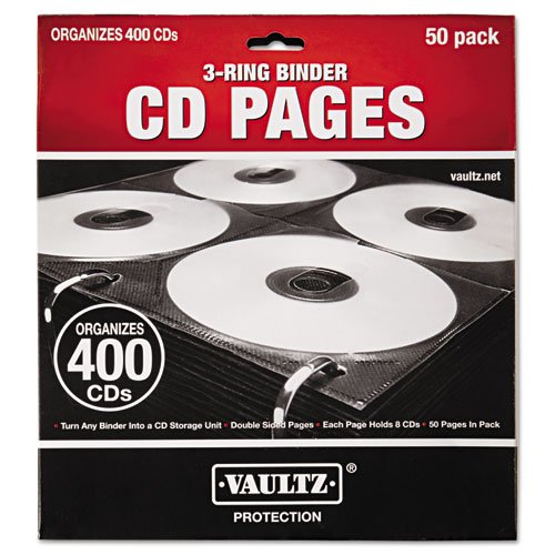 Vaultz Two-Sided CD Refill Pages for Three-Ring Binder, 50/Pack
