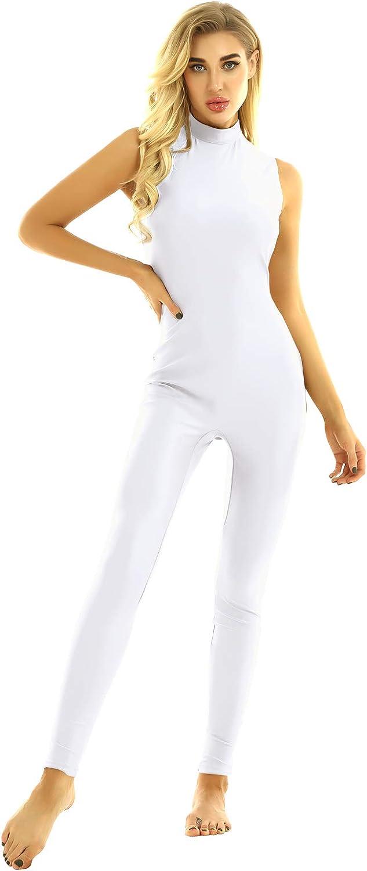 Freebily Womens Turtleneck Sleeveless Gymnastics Unitard Bodysuit Footless Dance Leotard