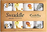 Muslin Baby Swaddle Blankets for Boys and Girls - by CuddleBug - Size Large 4 x 4 Feet - Muslin Cotton 4 Pack (Safari Friends)