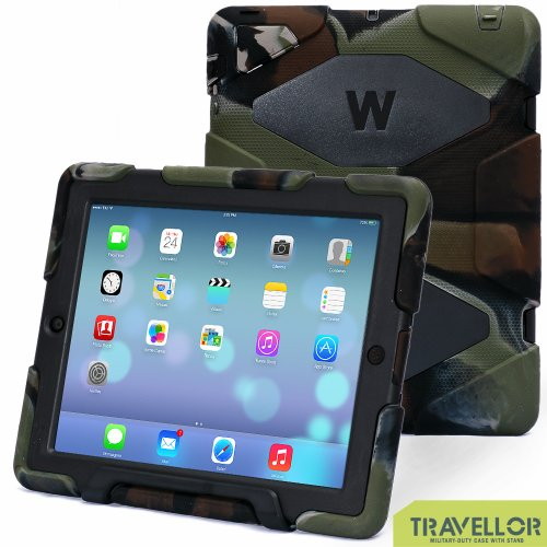 Aceguarder iPad 2 3 4 Case for Kids,Shockproof Waterproof Scratchproof with Stand Build-in Screen Protector(Army/Black)