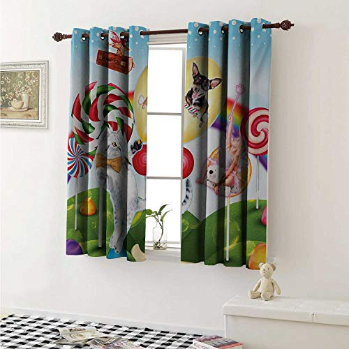 Kids Thermal Insulating Blackout Curtain Colorful Fantasy Land Rainbow Candy Trees Cat Dog Fairy Girl Boy Flying in Suitcase Curtains Girls Room W55 x L39 Inch ()