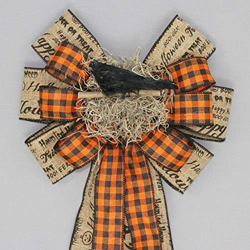 Rustic Halloween Script Crow Wreath Bow - 9