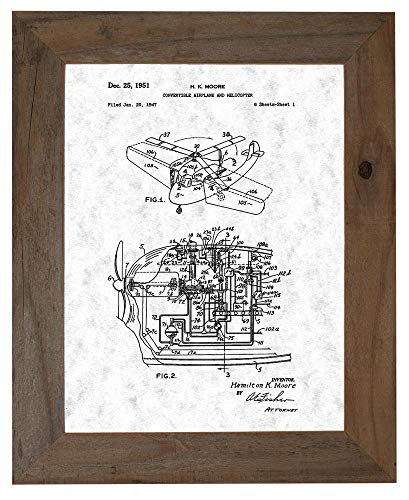 "Convertible Airplane and Helicopter Patent Art Gunmetal Print in a Barnwood Frame (20"" x 24"") M13819"