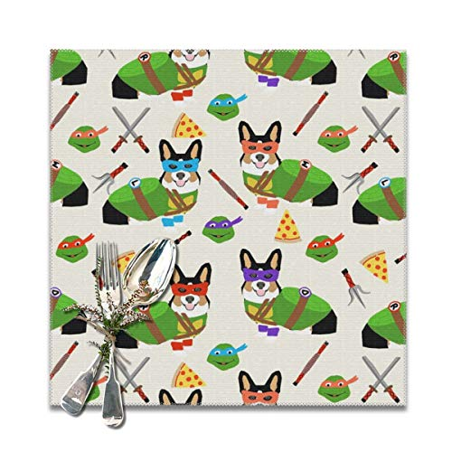 shirt home tri Corgi Ninja Turtle Dog Dogs Cartoon Costume Halloween Cream Washable Placemats for Dining Table Double Fabric Printing Cotton Place Mats for Kitchen Table Set of 6 Table -