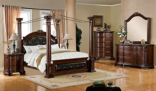 Mandalay Collection Luxurious Baroque Style Poster Canopy California King Size Bed Dresser Mirror Nightstand Brown Cherry Finish 4pc Set Button Tufted Headboard FB Bedroom Furniture