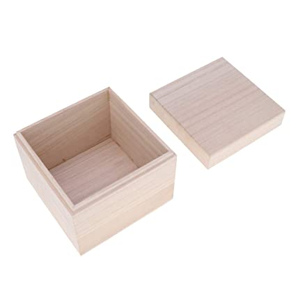 D Dolity Classic Wooden Storage Box Jewelry Chest Unpainted Diy