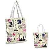 "United States easy shopping bag Newspaper New York with Sketchy Statue of Liberty and Texts Lipstick Vintage funny reusable shopping bag Multicolor. 14""x16""-11"""