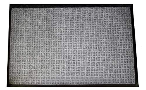 Durable Stop-N-Dry Indoor Rubber Backed Carpet Entrance Mat, 2 x 3, Gray