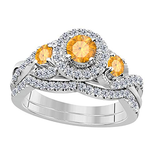 14K Gold Plated Yellow Citrine & White Cubic Zirconia Ladies 3 Stone Halo Bridal Engagement Ring with Matching Band Set