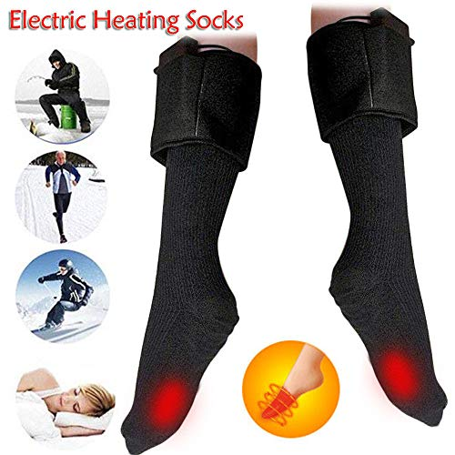 Voberry- Winter Warm Cold Feet Electric Heated Rechargeable Battery Powered Heating Socks (Black)