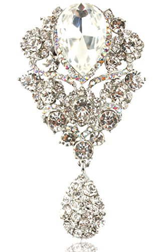 Gyn&Joy Women's Austrian Crystal Silver-Tone Bouquet Flower Teardrop Large Gorgeous Brooch Pin BZ062