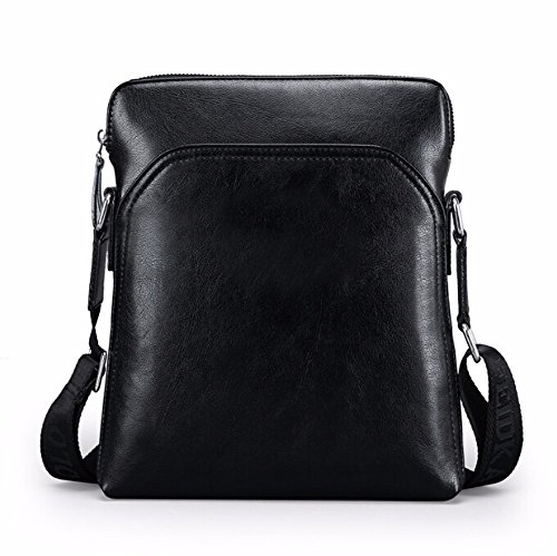 - Surnoy Men's Single Shoulder skew Spanning, 8 inch European and American Stylish Leather Casual Bag, Quality Vertical Handbag, Black, Brown,Black Shoulder