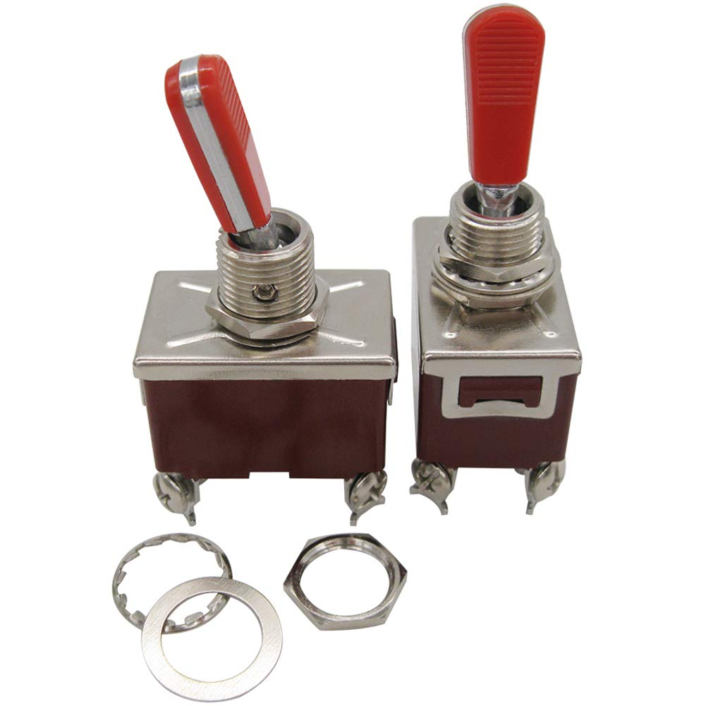 2 Years Warranty mxuteuk 2pcs Ten -1221-RR Heavy Duty Rocker Toggle Switch 16A 250V 20A 125V DPST ON//Off Switch with 2 Red PC Wear-Resistant Handle 4Terminal 2 Position c