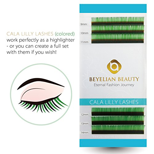 96221e36f15 BEYELIAN Cala Lilly Lashes Green Color Macaron Lashes 0.07mm Thickness C  Curl Mix Length Colored Individual Eyelash Extensions XD Volume Lashing