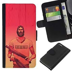 EJOY---La carpeta del tirón la caja de cuero de alta calidad de la PU Caso protector / Apple Iphone 5C / --Yolo Pink Armas rojas amarillas Barba Armas